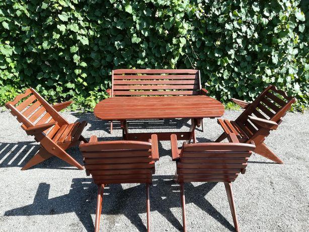 Zestaw drewnianych mebli ogrodowych stół, ławka plus 4 krzesła
