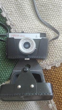 Klasyczne aparaty fotograficzne i lampa - zestaw - w pokrowcach skóra