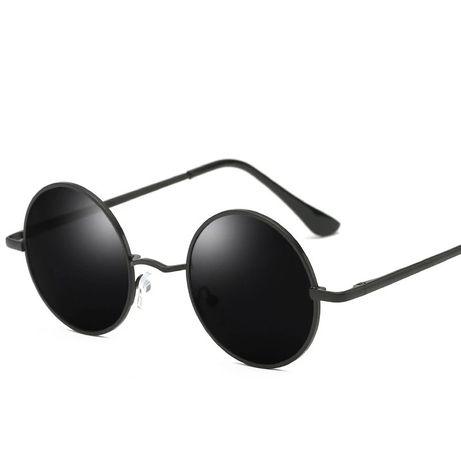 Очки круглые черные поляризационные ретро солнцезащитные стильные