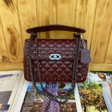 Женская кожаная сумка Valentino Rockstud Spike жіноча шкіряна