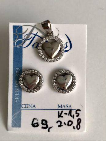 Zestaw srebrnej biżuterii kolczyki i zawieszka
