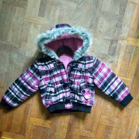 Kurtka w kratkę kurteczka z kapturem z futerkiem ciepła zimowa 110