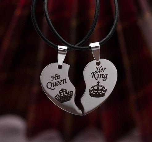 """Парные кулоны сердце """"His Queen Her King"""""""
