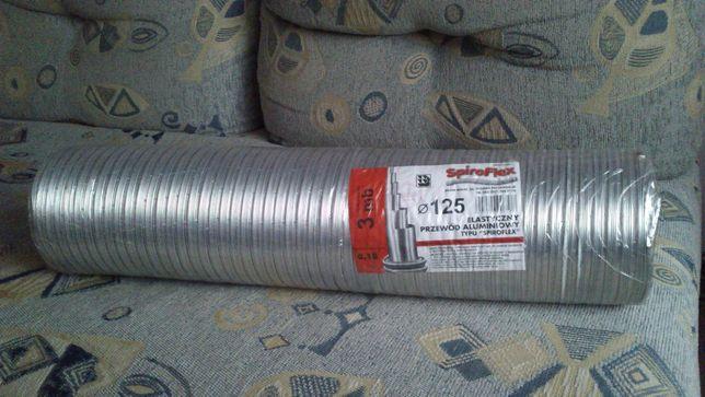 Przewód rura aluminiowa 125 3M NOWA elastyczna wentylacyjna Flex
