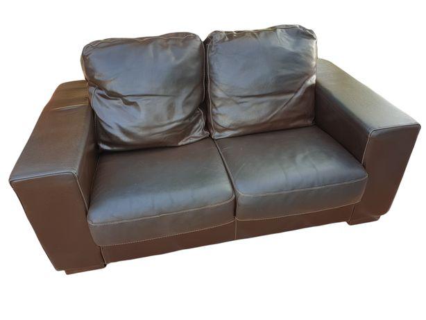 Sofá em Pele 2 lugares cor chocolate