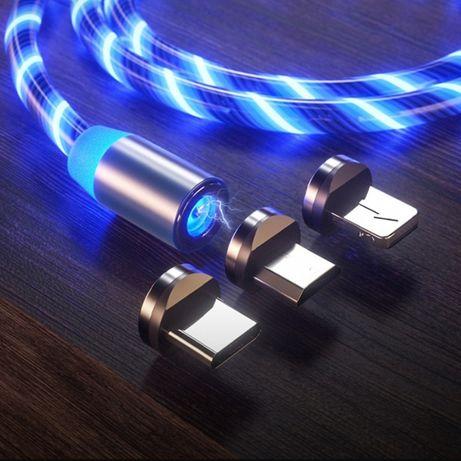 LED magnetyczny kabel USB typu C Micro Iphone Huawei Samsung MIX Tanio