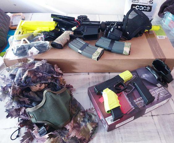 Conjunto  de arma e protecção airsoft