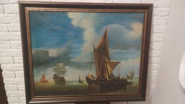Картина антиквариат/ старинная картина морской пейзаж/ на подарок