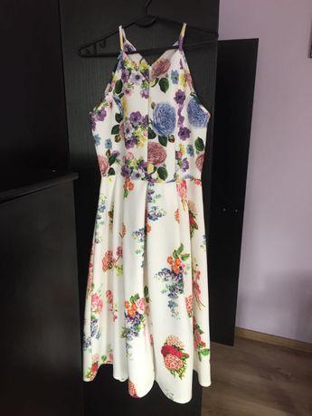 Sukienka Asos 38/40 biała w kwiaty midi