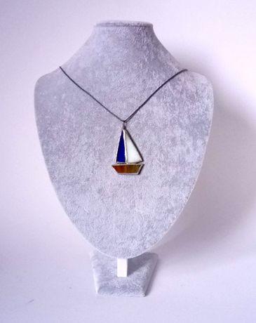 Biżuteria wisiorek naszyjnik żaglówka rękodzieło witraż