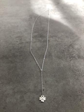 Celebrytka koniczynka z cyrkonia naszyjnik srebro 925 szybka wysylka