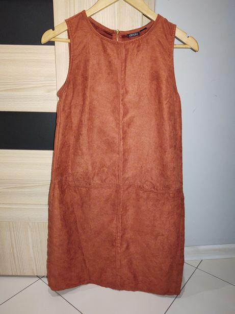 Zamszowa sukienka r. S np. ciażowa