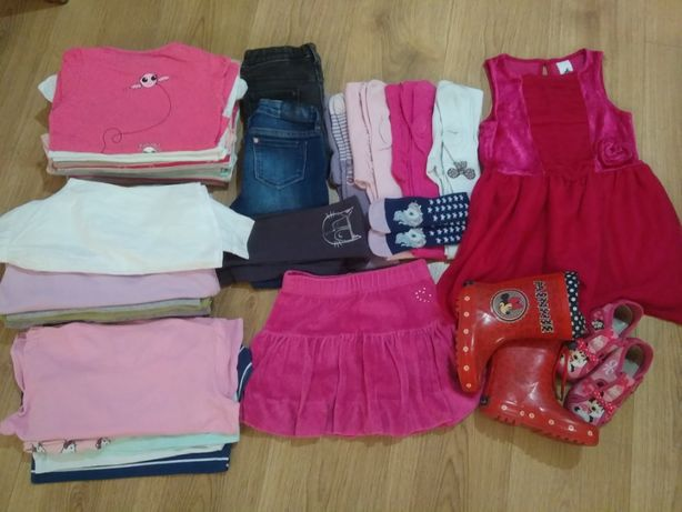 zestaw ubranek 110-116 dla dziewczynki;kurtka,bluzki,spodnie,sukienka