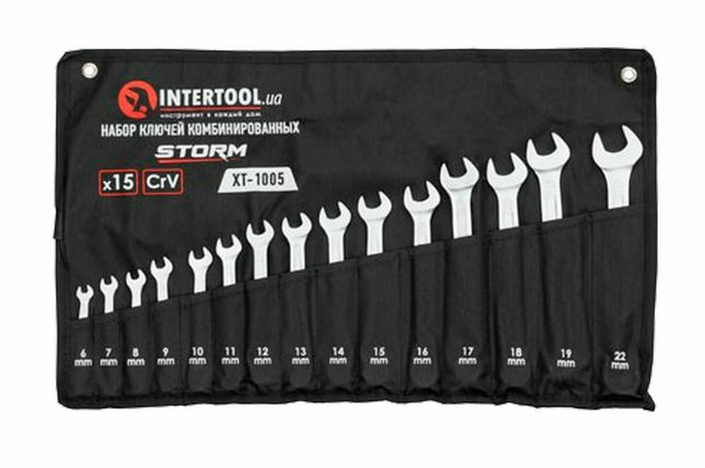 Набор рожково-накидных ключей Intertool - 15 шт.(6-22 мм)