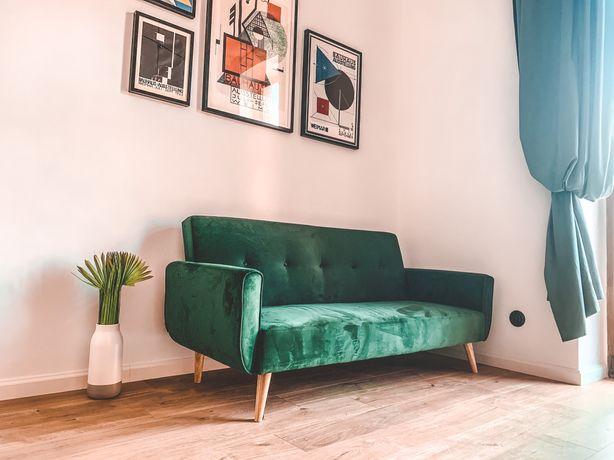 Sofa rozkładana butelkowa zielen praktycznie NOWA