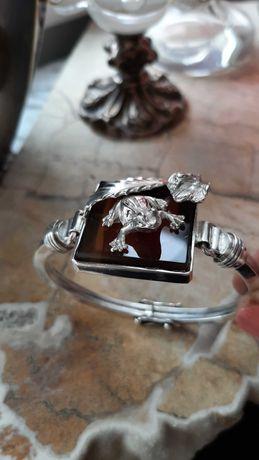 Srebrna bransoleta z żabką, pr 925