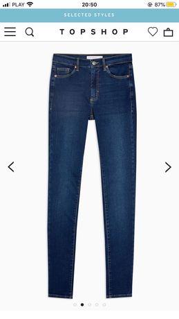 Topshop Leigh W26L36 skinny tall jeansy z wysokim stanem W26 S 36 34