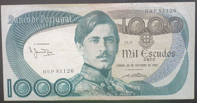 Nota de 1.000 esc. D. Pedro V