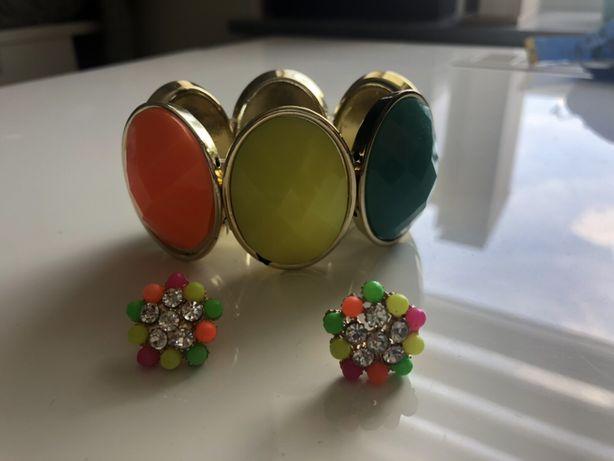 Kolorowy komplet biżuterii, bransoletka, kolczyki