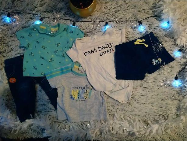 Zestaw 5 ubranek na niemowlę rozm. 56 (koszulki, body, spodenki)