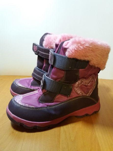 сапоги-термо девичьи цвета фуксии с розовым искусственным мехом