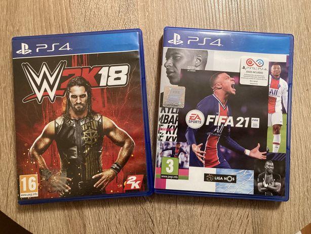 Jogos PS4 FIFA 21 - 25€ WWE 2K18 - 15€
