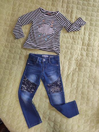 джинсы , кофточка 4-5 лет для девочки