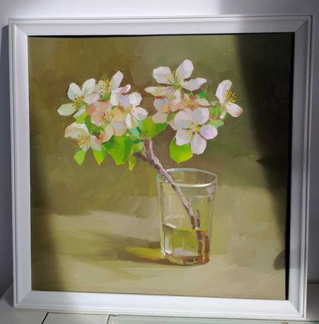 Картина маслом 'Гілка у стакані'