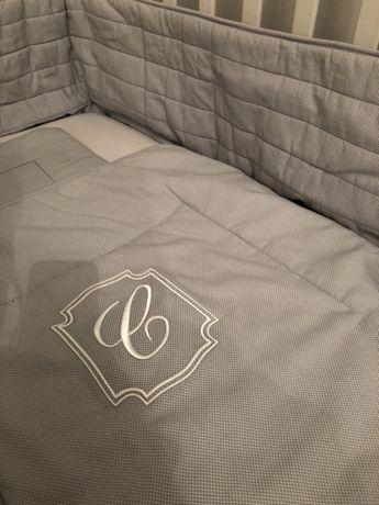 Ochraniacz do łóżeczka Caramella szary w kosteczkę