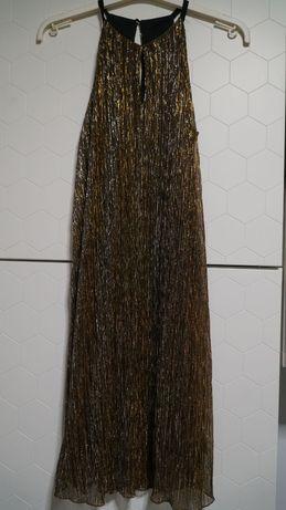 Złota zwiewna sukienka 36-38 Camaieu