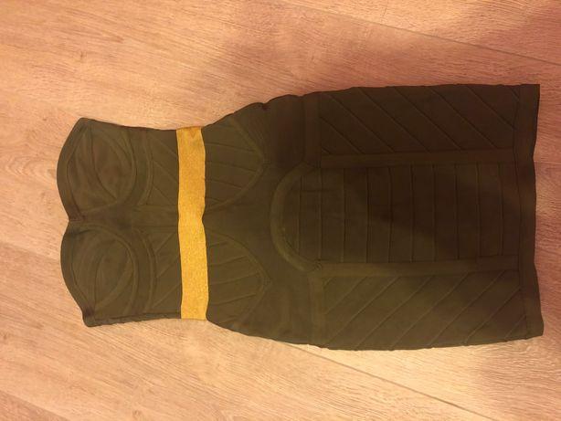 sukienka khaki ze złotym akcentem bandage asos S