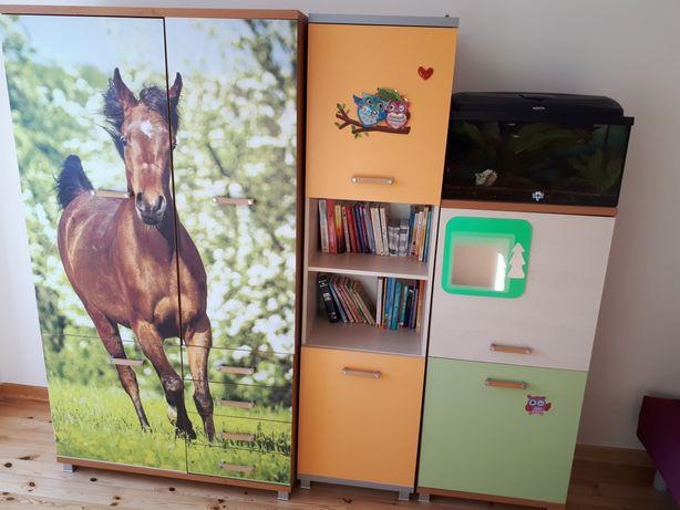 Komplet mebli do pokoju dziecięcego z koniem.
