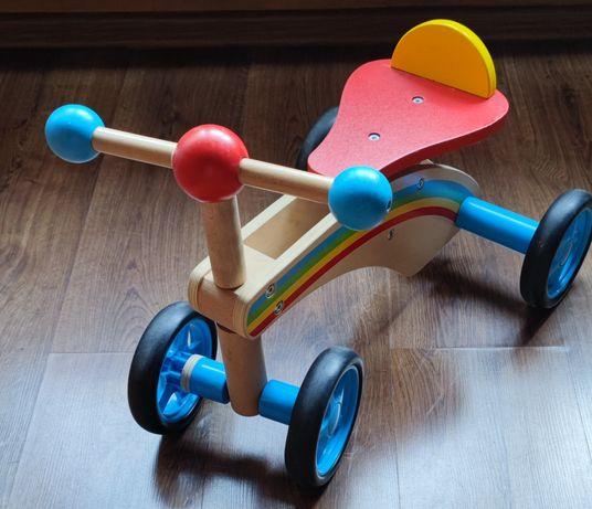 Rowerek drewniany biegowy, jeździk drewniany, czterokołowy