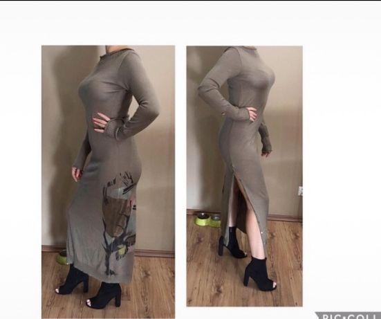Markowa sukienka wełniana długa z dekoltem