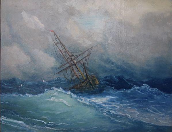 Продам картину по мотивам Айвазовского «Шторм» масло, холст 35х49.