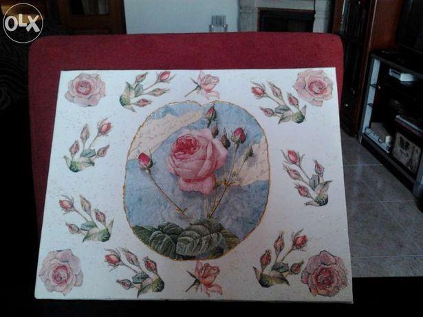 """Tela """"rosas"""" pintada à mão"""