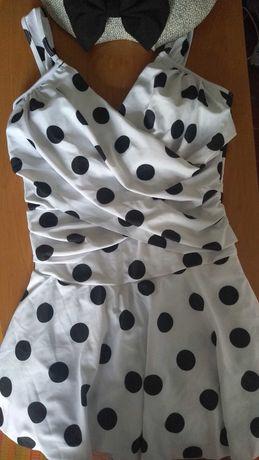 Купальник платье женский слитный / сдельный белый в черный горох m-l