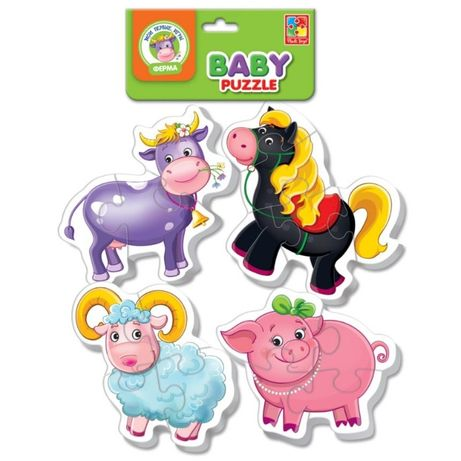 """Большие мягкие пазлы """"Ферма"""" (4 шт.в одном наборе),baby puzzle,пазли"""