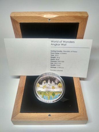 """Монета """"World of Wonders Angkor Wat"""", (Мир чудес Ангкор-Ват), серебро."""