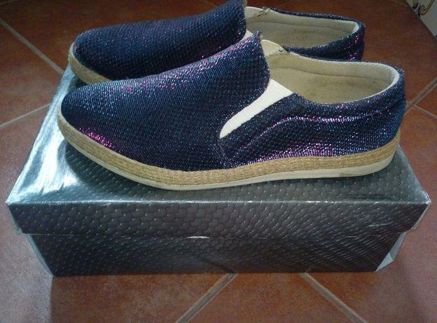 Sapatos de meia estação azuis escuros 39, usados 2x impecáveis!