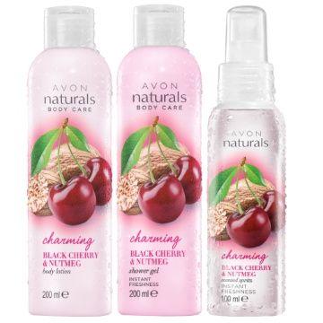 Avon zestaw Gałka muszkatołowa czereśnia żel balsam mgiełka