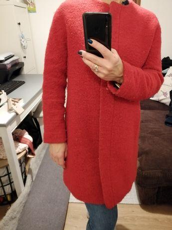 Płaszcz płaszczyk Zara czerwony bordowy Zara BASIC kurtka 38 m
