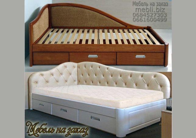 Кровать односпальная детская 1 Софа ліжко диван тахта деревянная ящики