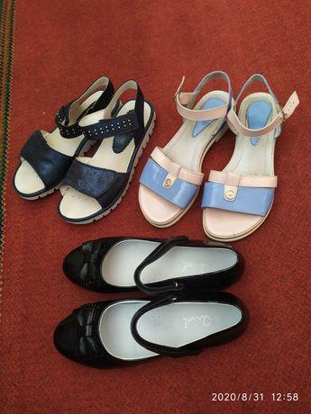 Кожаные туфли босоножки 37р.