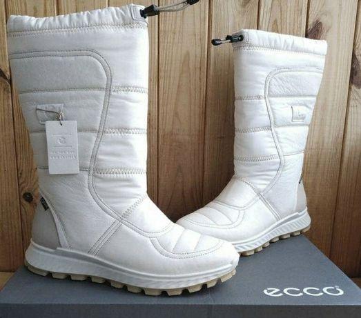 Стильные кожаные белые сапоги 40p Ecco Exostrike на Gore Tex