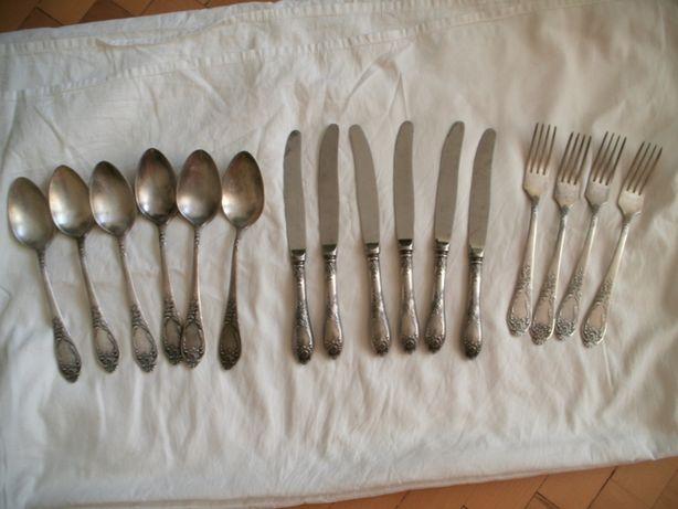 Sztućce rosyjskie, srebrzone,prawie Komplet,МНЦЦ 4-00, 3x6/1x4 dł 21cm