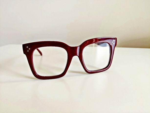 Okulary zerówki grube oprawki modne bordowe oversize retro sezon 2020