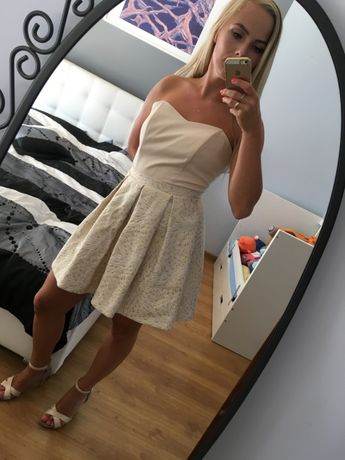 Beżowa sukienka na wesele, S