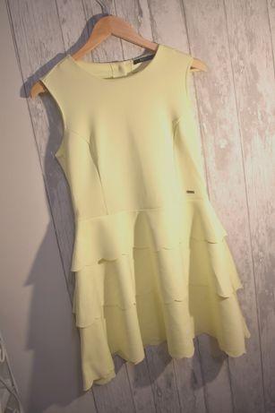 Mohito sukienka cytrynowa 36 s komunia wesele elegancka rozkolowana