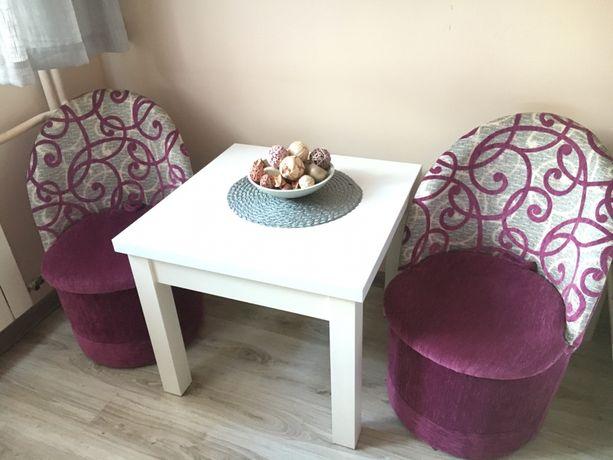 Stolik + 2 pufy/fotele zestaw